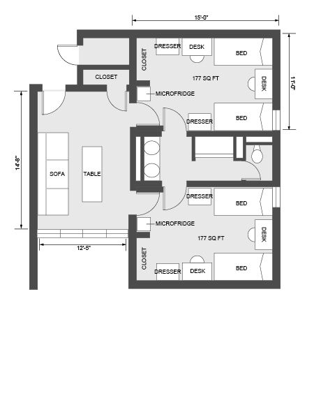 36 best images about dorm for rent on pinterest for Quad apartment plans