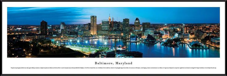 Baltimore Skyline Panoramic Picture Framed, Maryland
