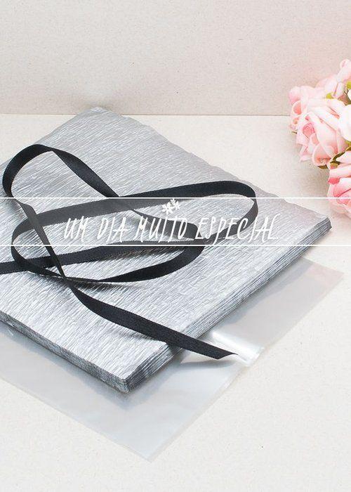 Kit de Embalagem para Bem-casado Prateado/Preto (120 unds Papel Crepom + 120 unds Celofane + 100m Fita de Cetim Preto 7mm)