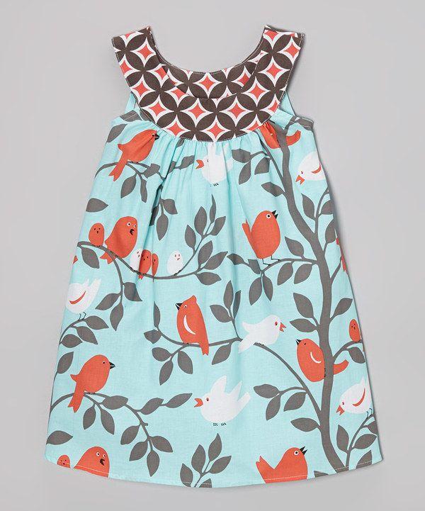 Love this Aqua Bird Yoke Dress - Toddler & Girls by SILLY MILLY on #zulily! #zulilyfinds