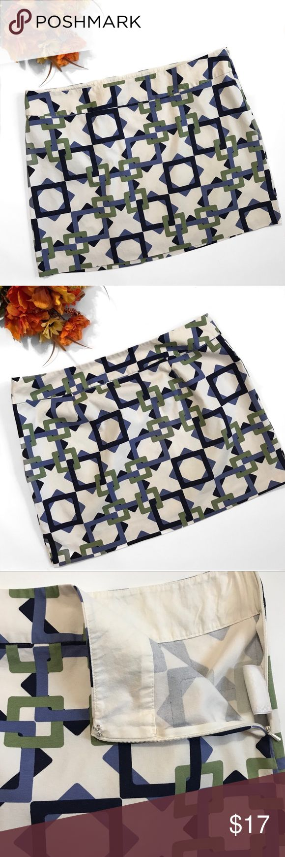 """Old Navy Geometric Size 14 Skirt Cute Old Navy skirt with green, navy and periwinkle colored squares throughout a cream skirt...side zipper with a little hook n eye at top...Size 14 it measures about 18.25-18.5"""" across waist laying flat and is about 16"""" Long...offers welcome bundle to save more plus ⚡️📦📫😃💕 Old Navy Skirts"""