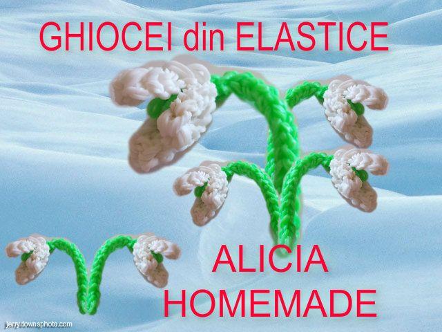 Breloc floare din elastice rubber bands din colectia figurine flori, animale, plante sau fructe din gumite loom. Ghiocel, ghiocei superbi.  CREATIE PROPRIE!!!