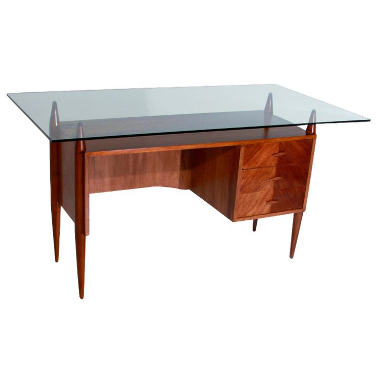 Caviuna Desk By Giuseppi Scapinelli With Floating Glass Top Awesome Design