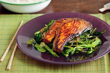 Five-spice salmon with broccolini and asparagus  ...sooo yummy