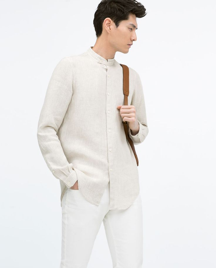 Image 1 of LINEN SHIRT WITH MAO COLLAR from Zara