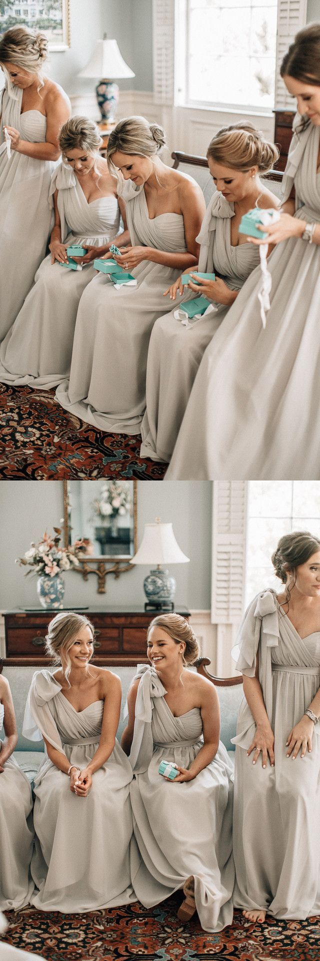One Shoulder Gray Long Bridesmaid Dress by Modcody