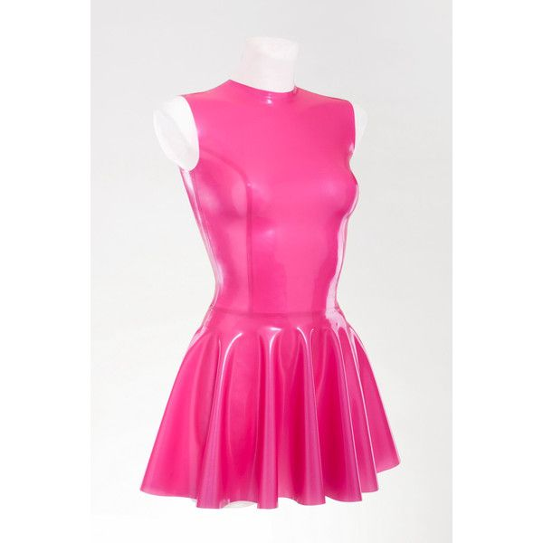 Very Sexy Latex Fit-and-Flare Dress (€55) ❤ liked on Polyvore featuring dresses, light pink, women's clothing, fuchsia pink dress, sexy dresses, pink fit-and-flare dresses, light pink dress and fit-and-flare dresses