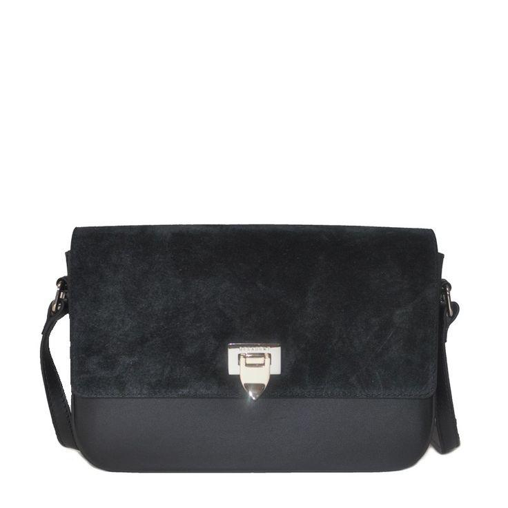 Decadent 444 Medium Satchel Bag W/ Buckle Suede Black
