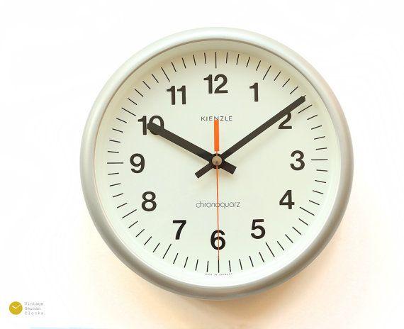 KIENZLE Station Wall Clock  - 70s Industrial Atomic Modern Office School Bauhaus Germany mcm