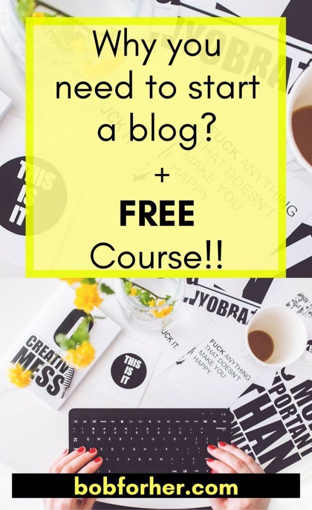 Why you need to start a blog + free course  You want to start a blog, or perhaps you are a blog writer and you'd like to improve.  Regardless, I believe a blog site is the best way to connect online, achieve your objectives, as well as generate income or side earnings. It's also very addictive and can become a long-lasting motivation. Here are my 7 reasons why you need to start a blog (+ FREE course if you sign up).  https://bobforher.com/start-a-blog-free-course  #startablog #blog