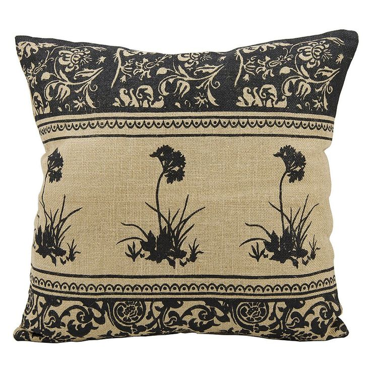 Mina Victory Lifestyles Floral Jute Throw Pillow, Natural