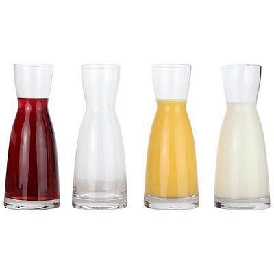 Individual Wine Decanters Set of 4 Mini Wine Carafe Best Flavor Lead Free Glass
