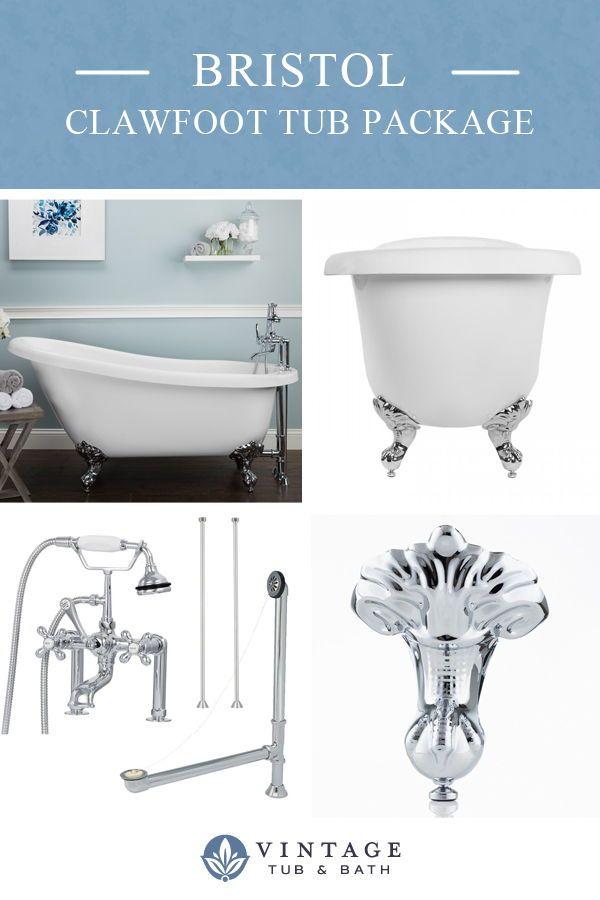 Bristol 62 Acrylic Slipper Clawfoot Tub Package Clawfoot Tub Tub Cheap Bathroom Remodel