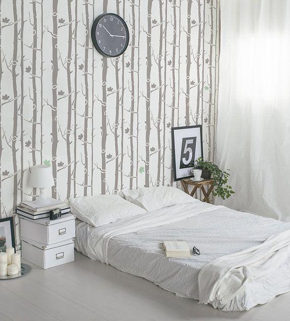 Acero albero parete stencil - Stencil scandinavo decorativi per pareti - stencil riutilizzabile e facile fai da te home decor