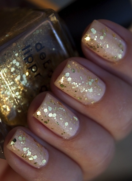 Nude with gold sparkle. Perfect for New Years Eve.
