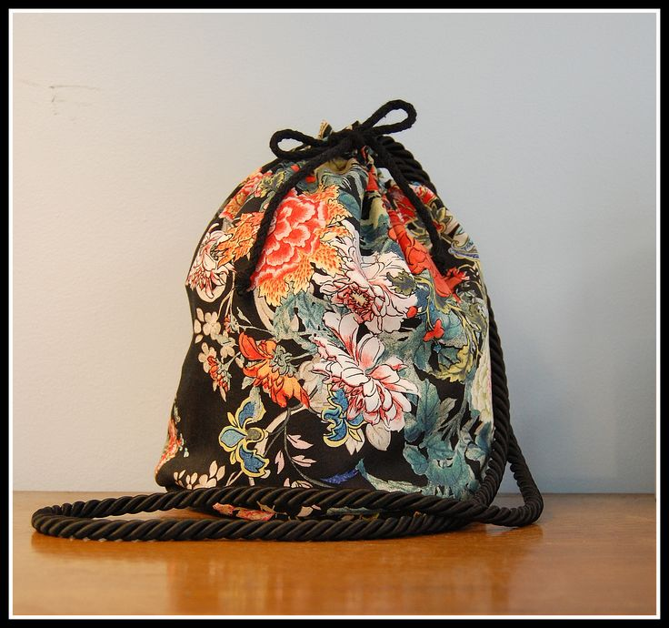 Black Japan Inspired Floral Pouch*