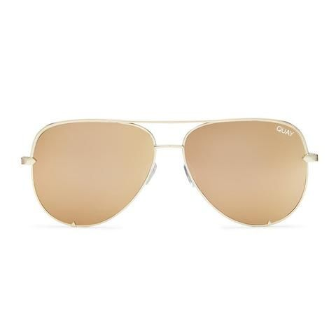 Quay Australia | High Key Sunglasses in Gold with Gold Mirror
