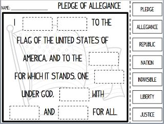 Back-to-School Pledge of Allegiance Cut and Paste for United States and Texas