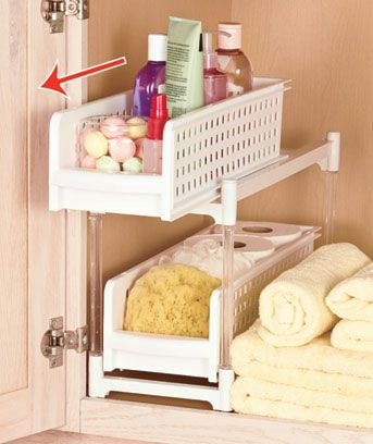Increase the capacity of the cabinet in your bathroom with this 2-shelf Sliding Bathroom Storage unit. The shelves feature lips on the fronts to keep items in place and make pulling them in and out simple and easy. Perforated sides allow you to easil