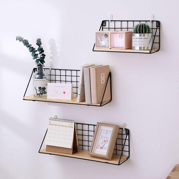 Wooden Iron Storage Holders Home Shelf Wall Hanging Box Flower Pots Book Storage Racks Decoration