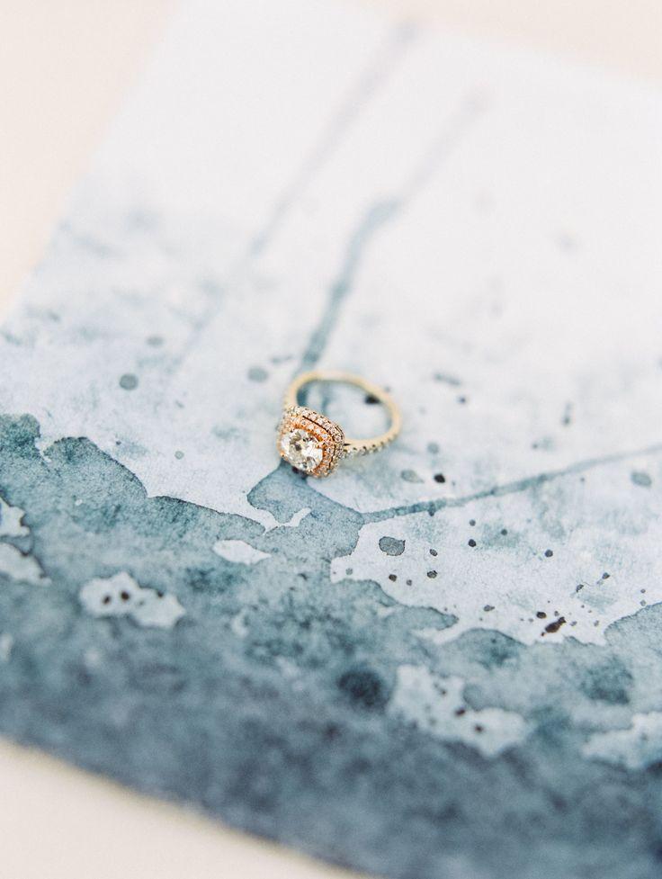 Gold engagement ring: Jewelry: Diamond Exchange Dallas - http://www.stylemepretty.com/portfolio/diamond-exchange-dallas Photography: Alba Rose Photography - www.albarosephotography.com   Read More on SMP: http://www.stylemepretty.com/2017/03/23/glittery-gold-engagement-session/