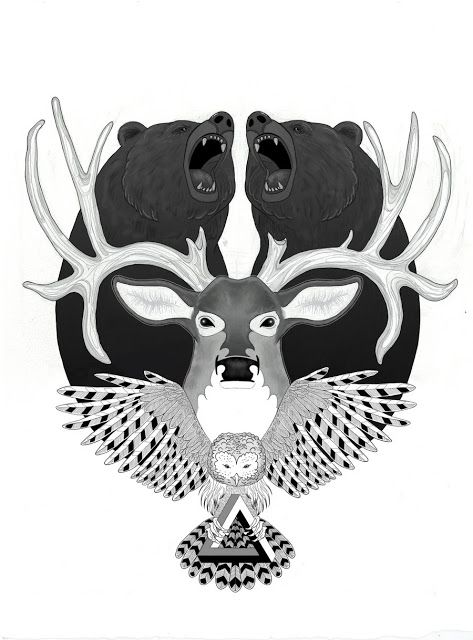 I would love this, but instead of bears it would be foxes. And no owl. And also put cameo around it and but a bird on the bucks antler.