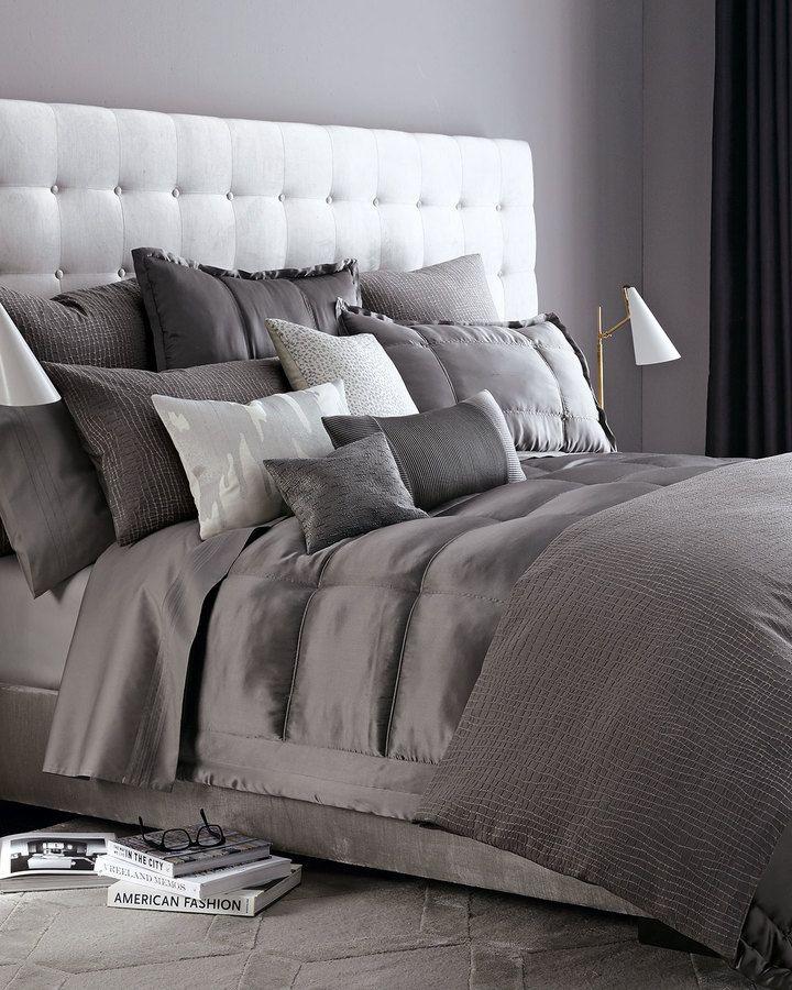 donna karan home reflection standard quilted silk bedding