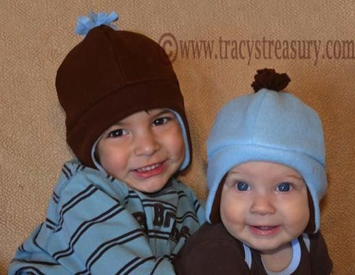 Free pattern for a fleece beanie with flaps. Link to download just after the kid dressed as a frog
