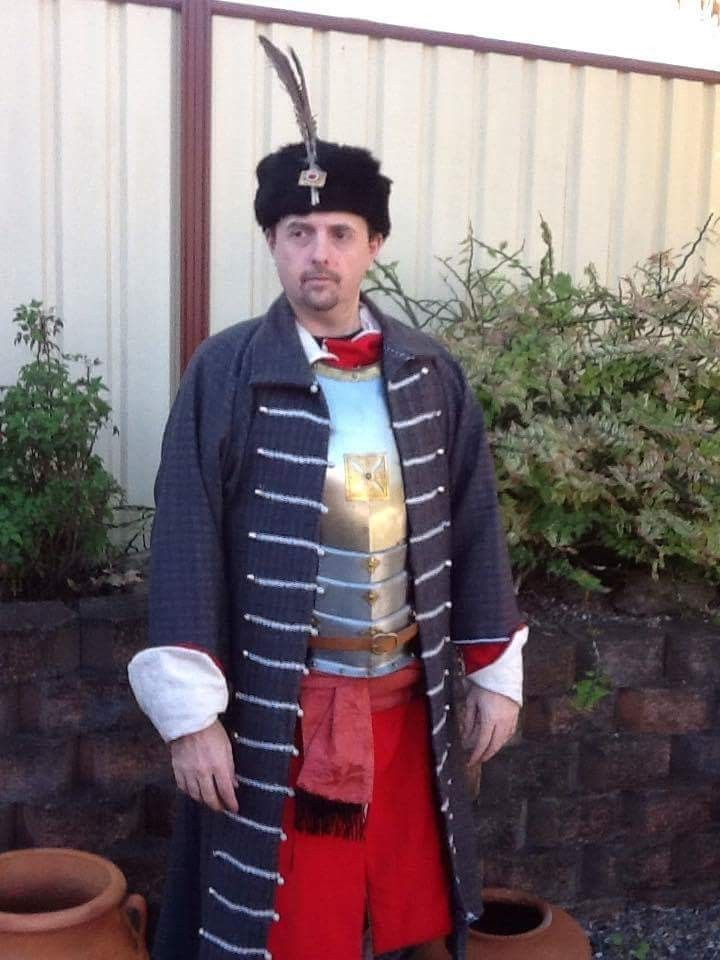 17thC Giermak over Hussar armour (before adding fur collar lining)