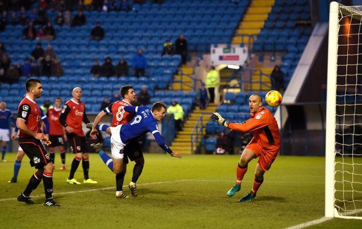 League Two Football. Carlisle United V Morecambe. Final score 1-1. Charlie Wyke scores the equalizer: 14 January 2017 STUART WALKER 50086759F042.JPG