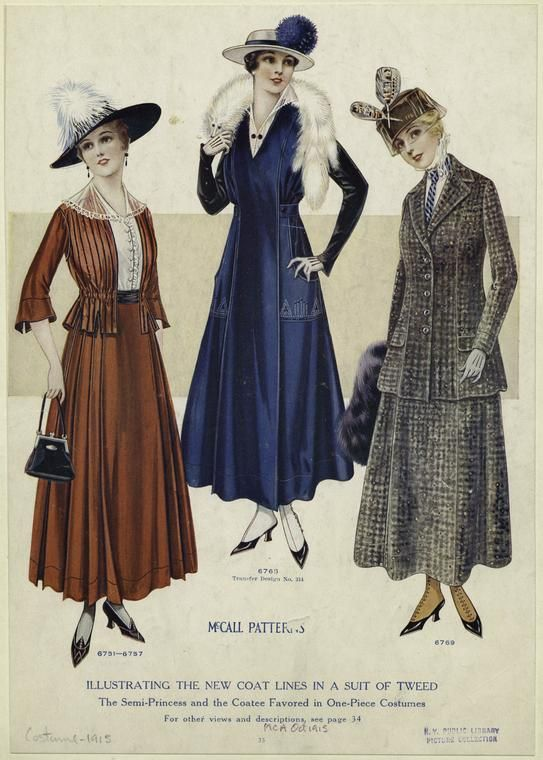 1915 McCall patterns : illustrating the new coat lines in a suit of tweed.