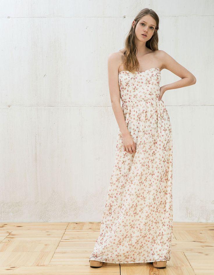 Lange jurk met bloemenprint - Jurken - Bershka Netherlands