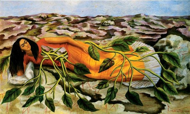 Frida Kahlo - Roots (1943) A childless woman's dream of fertility in which her torso opens up like a window that gives birth to a vine.