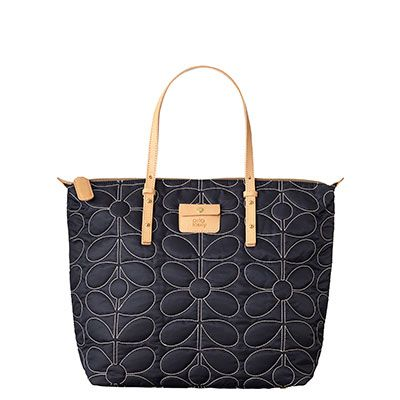 Orla Kiely | USA | Bags | SALE - Mainline | Sixties Stem Quilted Nylon Tilly Bag (14SBSSQ054) | Midnight