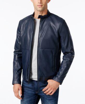 CALVIN KLEIN Calvin Klein Men's Perforated Faux-Leather Moto Jacket . #calvinklein #cloth # coats