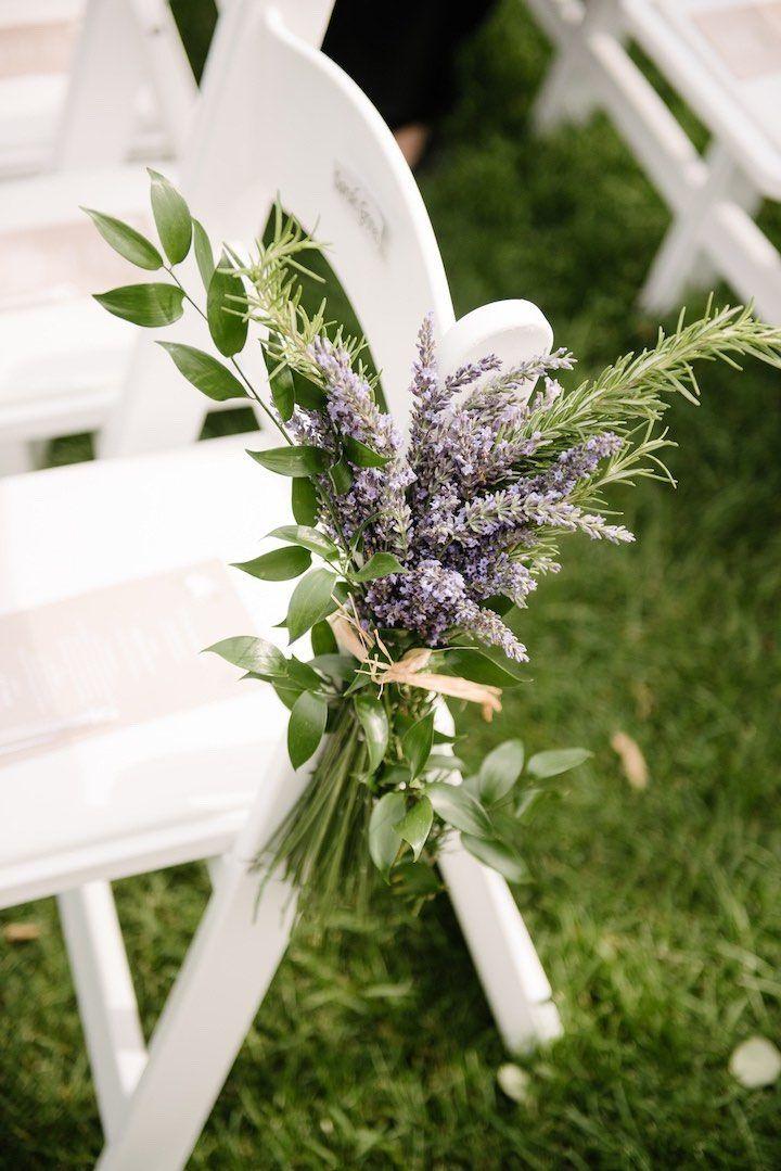 Lavender aisle marker by Dark + Diamond Floral Design.