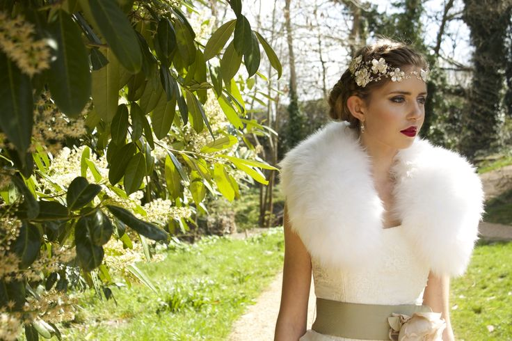 Bohemian bridal fur collar by Blanche in the Brambles #sheepskin dress by Stephanie Allin Frankie hair accessories by Hermione Harbutt