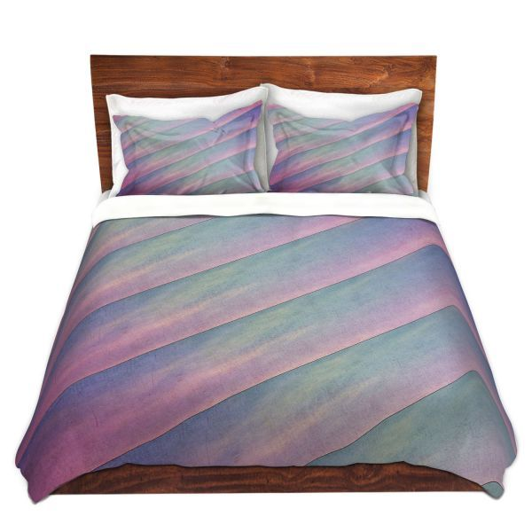 Decorative Duvet Covers and Shams Bedding | Sylvia Cook - Diagonal Stripes Purples | Lines Abstract Shapes Pattern