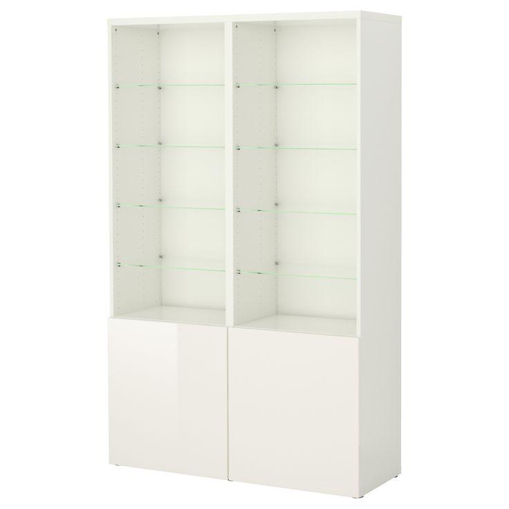 BESTÅ Storage combination with doors - white/high-gloss white, glass shelves - IKEA 470