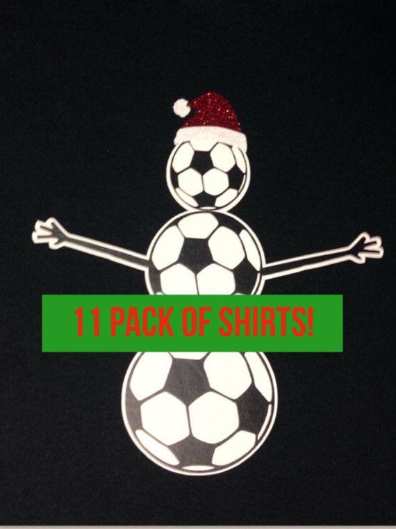 Maillot de football de Noël.  Soccer ball bonhomme de neige Noël vacances Shirt - 11 LOT DE CHEMISES - avec lecteur #s. Idéal pour les cadeaux de l'équipe!