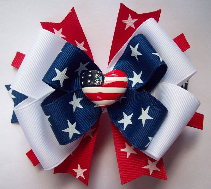 4th of July Red White and Blue Hair Bow by JustinesBoutiqueBows, $6.50