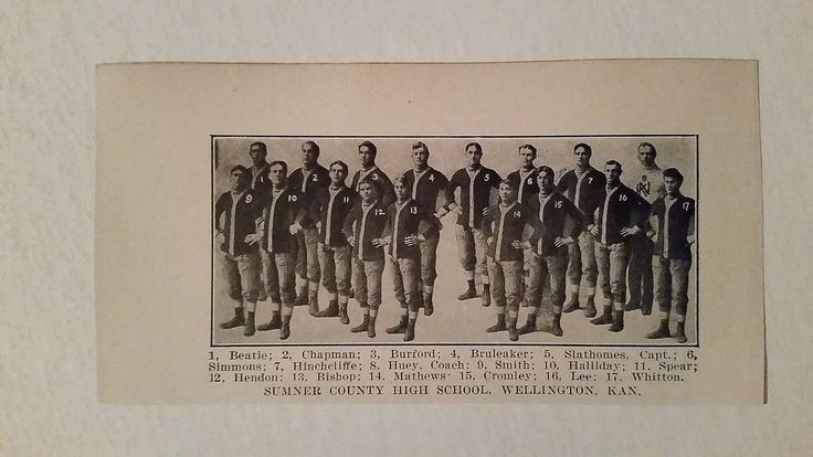 Sumner County High School Wellington Kansas 1908 Football Team Picture VERY RARE