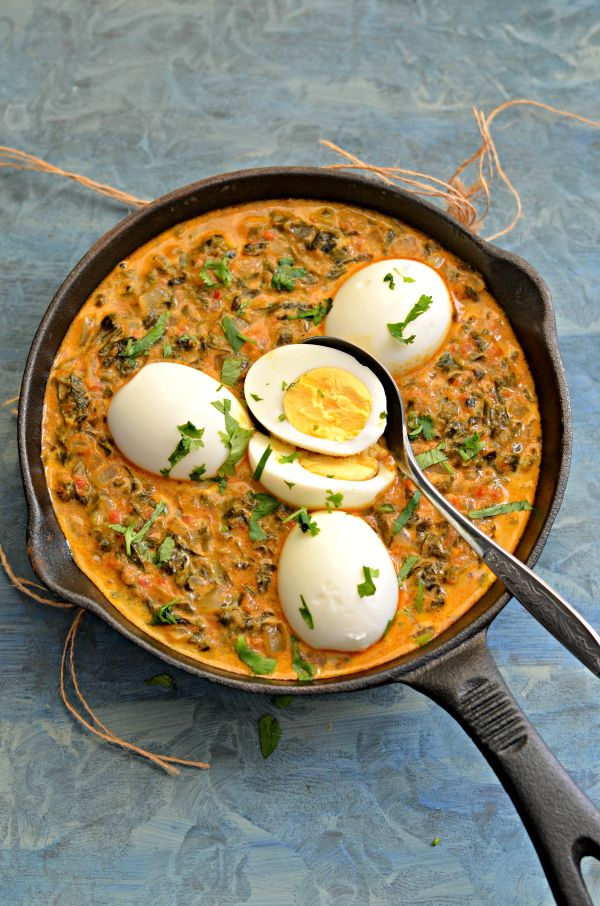 Rich, creamy and flavourful Egg curry with methi leaves. Gluten free methi anda curry is a perfect party recipe to serve with rice.