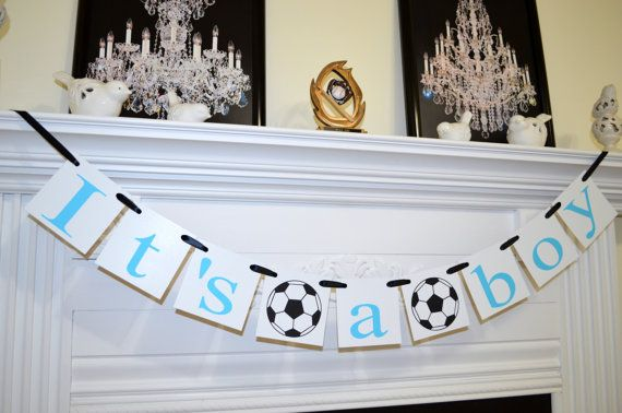 It's a Boy banner, soccer theme baby shower decorations, baby room decor, baby blue sign, Welcome baby boy banner, New Baby Banner