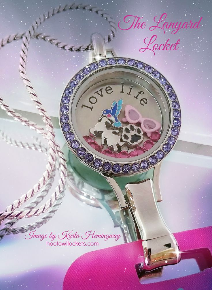 Origami Owl Lanyard Locket with the new Tanzanite Twist Face.  Contact me to build your locket today!  karlahemingway@live.com http://hootowllockets.com
