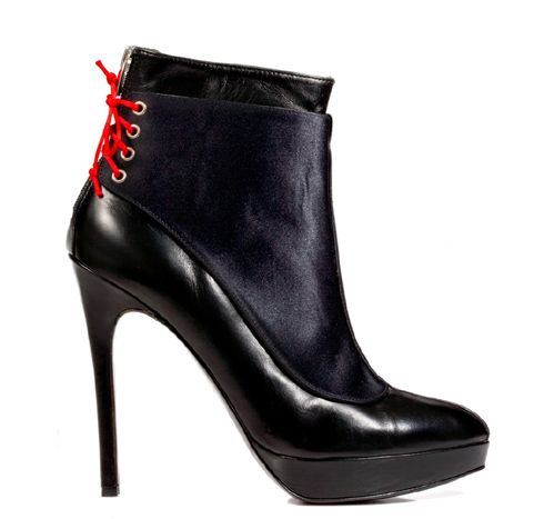 STATHIS SAMANTAS / Calfskin and silk satin booties Heel: 12.5cm with 2cm platform