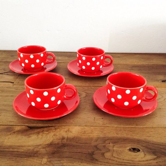 Vintage Waechtersbach Red With White Polka Dots Coffee/Tea Glasses And Sources Glazed Earthenware Made In West Germany
