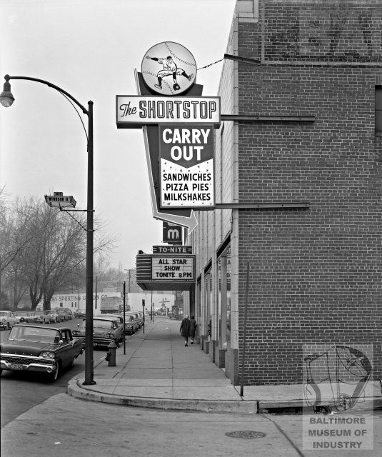 Short Stop Restaurant at Monroe and Windsor, 1960. From the Baltimore Museum of Industry.