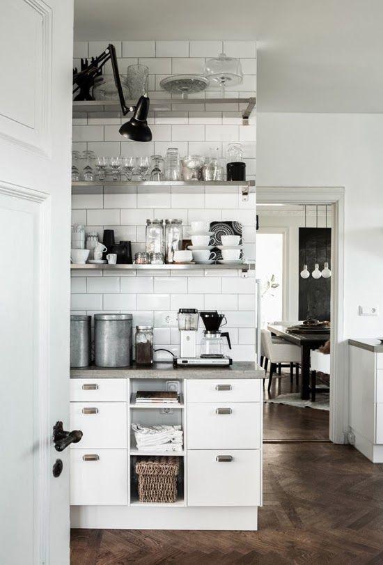 ❥Open Shelves, Daniella Witte, Metals Shelves, Open Kitchens, Subway Tiles, Open Shelving, Stainless Steel, Design Chaser, White Kitchens