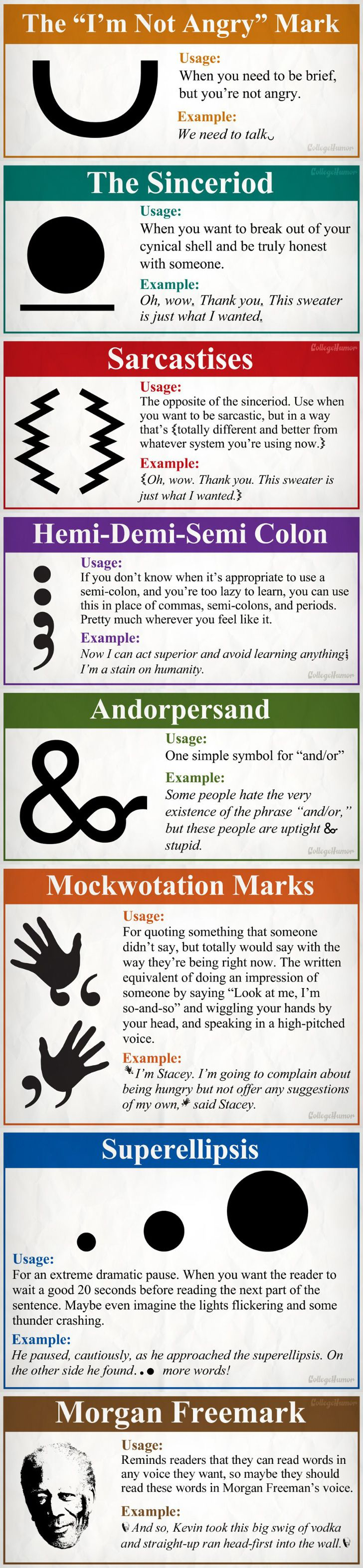 8 new and necessary punctuation marks. I would totally use all of these!